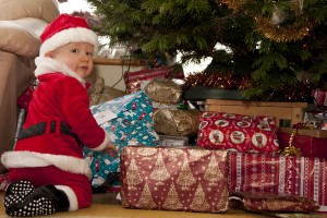 our grandson sorting out the Christmas presents!